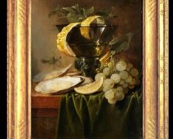 Tablou pictat natura moarta cu scoici, lamaie struguri si pahar de vin