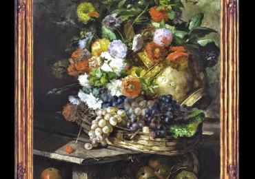 Tablou pictat natura statica cu flori si fructe de toamna, Tablou floral, idei de cadouri, aranjamente  florale pentru ocazii deosebite