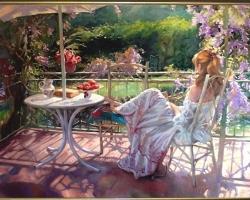 Tablou pictat ulei pe panza, Femeie in gradina cu flori Tablou ulei pe panza