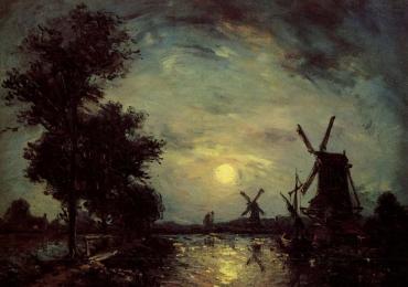Tablou pictat ulei pe panza cu peisaj celebru Johan Barthold