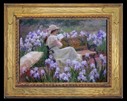 Tablou pictura cu flori, tablou cu buchet de flori, tablouri cu aranjamente florale, tablou cu femei in gradina cu flori