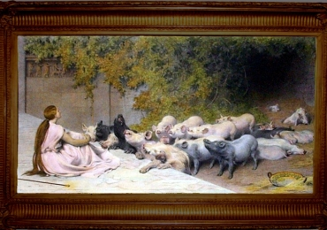 Tablou povestea din spatele porcilor, Rivière Briton, Circe and her swine, the story b