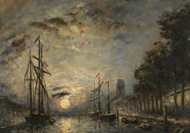 Tablou prisaj marin celebru cu clar de luna, Johan Barthold