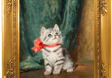 Tablou pui de pisica cu funda rosie, tablou cu animale salbatice, tablouri cu animale