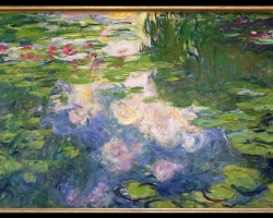 Tablou sufragerie cu nuferi, tablou dimensiune mare, tablou cu flori, tablou birou,Claude Monet Waterlilies, Tablou cu tema abstracta