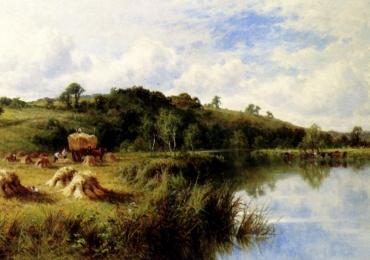 Tablou superb cu peisaj de vara pictat de artist celebru