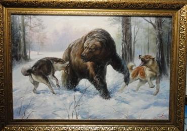Tablou urs vanat de cainii de vanatoare, tablou cu animale salbatice, tablouri cu anim