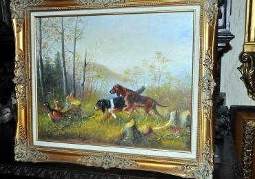 Tablou vanatoare de fazani cu caini, tablou cu animale salbatice, tablouri cu animale
