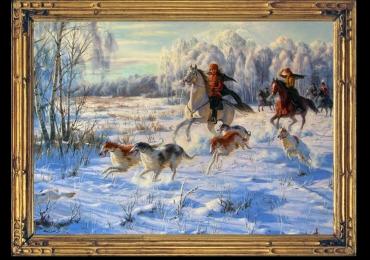 Tablou vanatoresc, tablou cu vanatori calare pe cai acompaniati de cainii lor de vanat