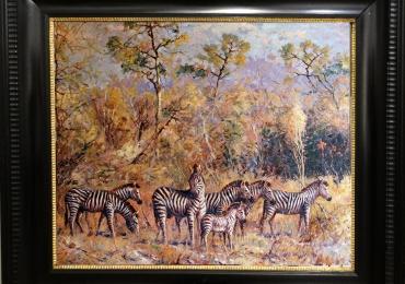 Tablou zebre in savana, tablou cu animale salbatice, tablou cu animale exotic