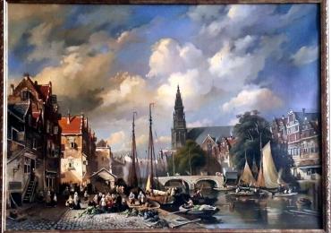 Tablou pictura peisaj cu Port Austriac, peisaj pictat in ulei pe panzap