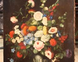 Tabloucu flori de gradina, tablou pictat manual in ulei pe panz