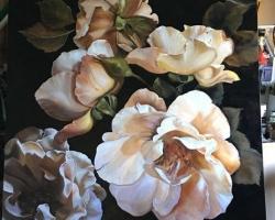 Tabloucu trandafiri albi infloriti, natura moarta, tablou pictat manual in ulei pe panz