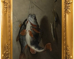 Tablouri cu natura moarta cu pesti proaspat pescuiti.