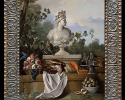 Tablouri cu natura moarta, tablou cu statuie  flori si fructe
