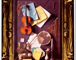 Tablouri cu natura moarta, tablou cu vioara si partituri