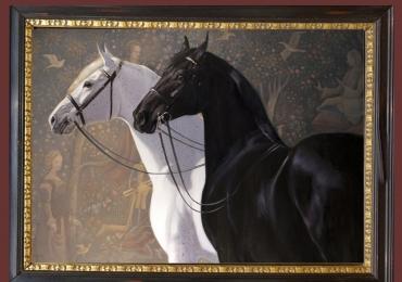 Tablouri moderne, Tablou cu cai, tablou cu cal alb, tablou cu cal negru, tablou cu ani