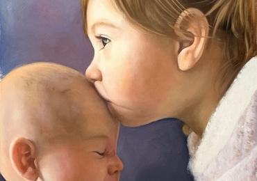 Tablouri personalizate,Tablouri pictate personalizate, portret de frate si sora pictat dupa poza