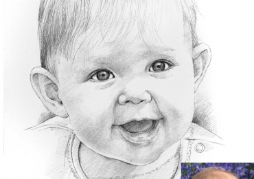 Tablouri pictate la comanda, portrete pictate pe panza,  Picturi dupa poze, pictura comanda, portret in creion dupa poza copilului tau