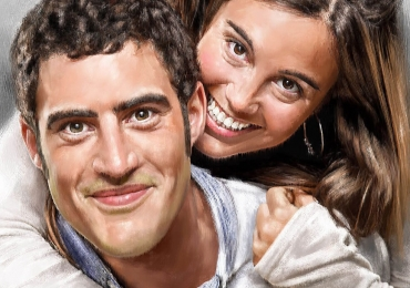 Tablouri pictate personalizate, portret de cuplu