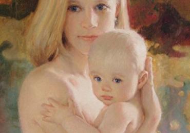 Tablouri pictate portrete, Tablouri pictate personalizate, portret de mamica si copil
