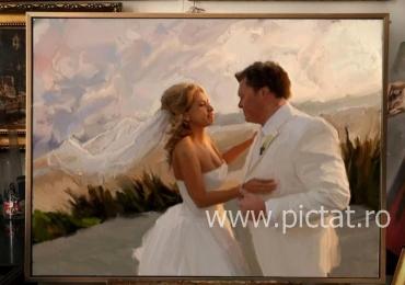 Tablouri pictate, portrete la comanda, Tablouri pictate personalizate, portret cadou inedit de nunta