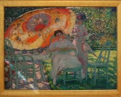 The Garden Parasol, Frederick Carl Friesekem, tablou peisaj de vara cu femei in gradina, Tablouri Pictori Celebri, Reproduceri Celebre