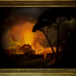 The Girandola by Joseph Wright of Derby, painted in 1775, Tablou cu peisaj nocturn, tablou peisaj celebru, tablou scena istorica