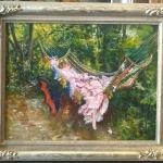 The Hammock, Giovanni Boldini, Tablou cu peisaj de vara, tablou cu parc, tablou cu flori, peisaj din natura, tablou cu femeie in hamac