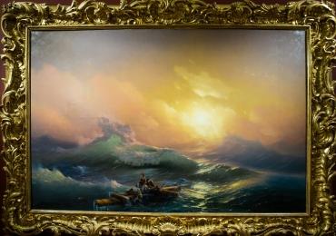 The Ninth Wave. Ivan Aivazovsky 1850, tablou peisa marin, tablou cu naufragiati, tablou cu apus de soare, Tablouri Pictori Celebri