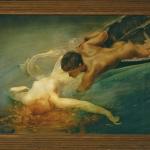 The Siren, Green Abyss, Giulio Aristide Sartorio, Tablou cu peisaj marin, tablou cuplu indragostiti, tablou cu sirena, tablou cu apa limpede