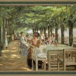 The Terrace at the Restaurant Jacob in Nienstedten on the Elbe 1902, Tablou cu peisaj de vara, tablou cu parc, peisaj mediteranean, tablou cu femei si barbati la terasa unui restaurant