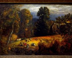 The gleaning field Qamuel Palmer, Tablou cu peisaj de toamna, tablou cu oameni in padure, tablou cu pasune, tablou cu luminis in padure