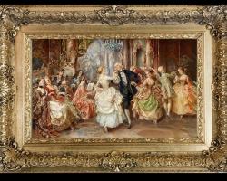 The hotel ball painting, tablou rococo, Tablou cu bal in hotel, tablou cu nobili, tablou cu femei si barbati dansand