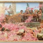 The roses of heliogabalus, Tablou cu peisaj de vara, tablou floral, tablou cu flori, peisaj cu oameni