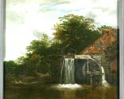 The watermill. Tablou pictat manual in ulei pe panza. Peisaj de toamna