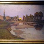Torino Landscape, peisaj cu rasarit de soare, peisaj din torino, tablou cu peisaj de vara, tablou cu rau peisaj din natura