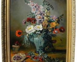 Traditional style still life painting, Vas cu fiori de salbatice, tablou cu flori de camp, tablou cu flori de primavara, tablou floral