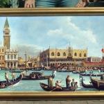 Turisti in Venetia. Tablou pictat manual in ulei pe panza. Peisaj de vara