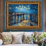 Van Gogh – Iris Flower Harvest Night Sky. Tablou pictat ulei pe panza