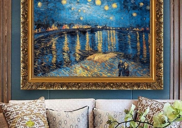 Van Gogh – Iris Flower Harvest Night Sky. Tablou pictat ulei pe panza