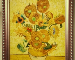 Van Gogh, floarea soarelui, Tablou natura moarta, tablou natura statica, Buchet de flori, tablou cu flori in vaza, tablou floral