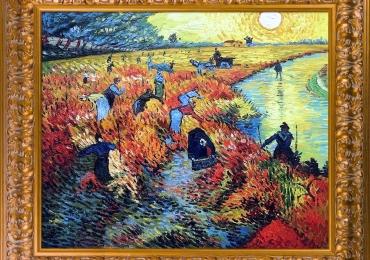 Van Gogh Red Vineyards at Arles. Tablou pictat manual in ulei pe panza