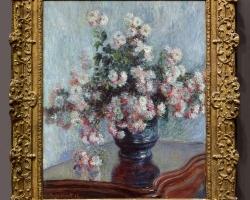 Vas cu fiori, Tablou cu crizanteme, tablou cu flori de gradina, tablou floral MONET Vaso di crisantemi