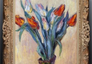 Vaso con tulipani, Vas cu fiori de gradina, tablou cu flori de lalele, tablou cu lalele rosii, tablou floral