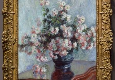 Vaso di crisantemi, Monet, Tablou cu vas de flori de crizantema, Vas cu fiori de gradina, tablou cu flori roze alb, tablou cu flori de toamna floral