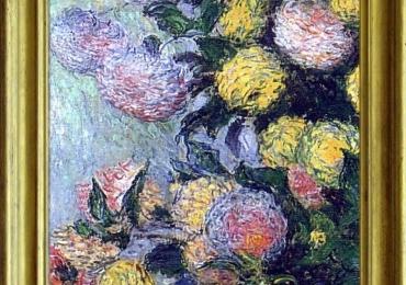 Vaso di dalie, Claude Monet, Vas cu fiori de gradina, tablou cu flori galbene si roz, tablou cu flori de toamna, tablou floral
