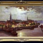 Vedere in port. Tablou pictat manual in ulei pe panza. Peisaj de vara