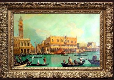 Venetia Turcoaz. Tablou pictat manual in ulei pe panza. Peisaj de vara. Peisaj