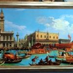 Venetia. Tablou pictat manual in ulei pe panza. Peisaj de vara. Peisaj venetian